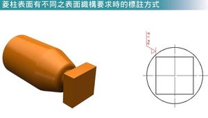 菱柱表面有不同之表面織構要求時的標註方式