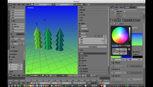 簡易樹木  3D 動畫 blender   角錐 製作複本 結合 加材質